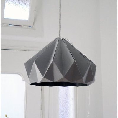 Grey paper origami lampshade papercraft juxtapost grey paper origami lampshade mozeypictures Choice Image