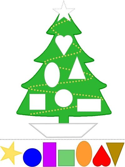 Christmas Tree Craft | Learn Shapes | Color Template | Preschool ...