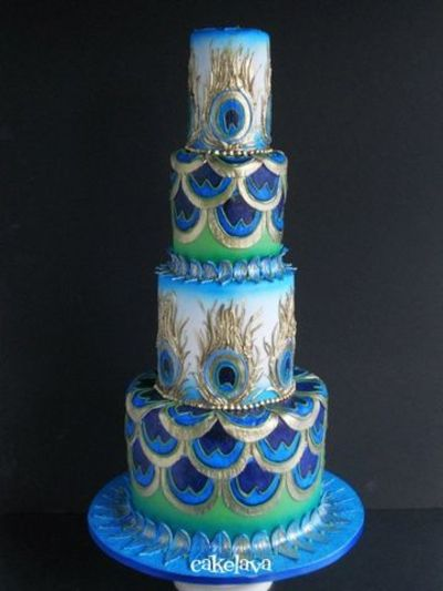 Art Deco Peacock Wedding Cake Weddingcakes Wedding Cakes