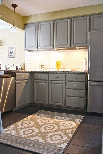 Yellow walls, gray cabinets  For my kitchen  Juxtapost