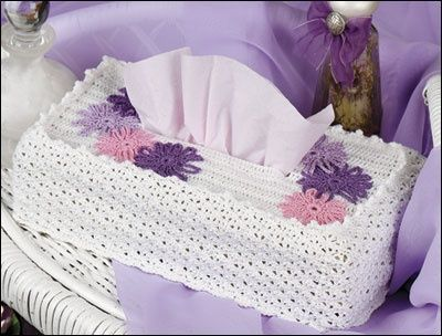 Painted Daisies Tissue Box Cover free pattern