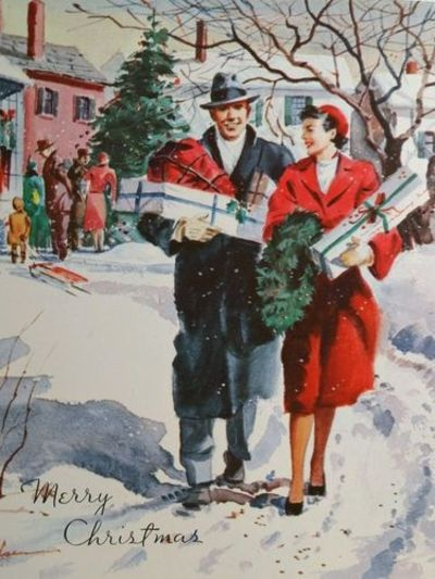 Couple With Gifts Vintage Christmas Card Nice Signs Juxtapost