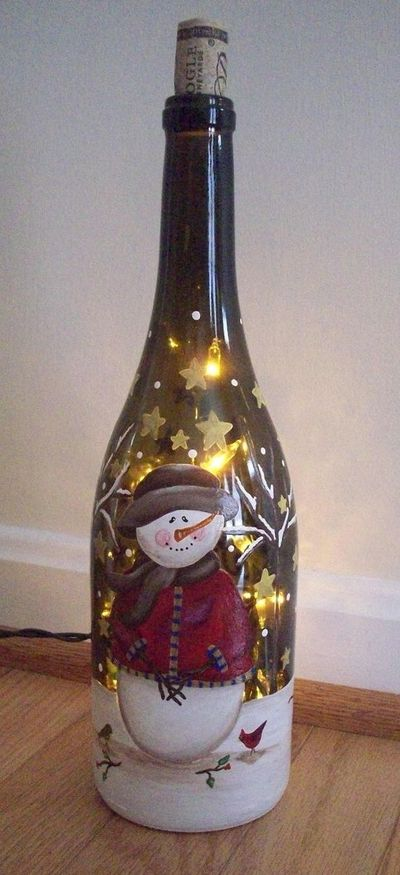 Hand Painted Christmas Winter Lighted By Keepitsassydesigns Interesting Decorated Wine Bottles With Lights Inside