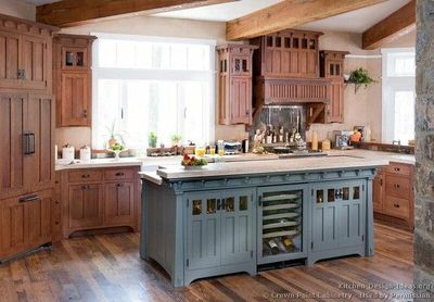Traditional Blue Kitchen Cabinets