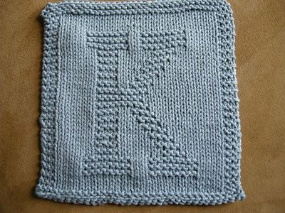 Knitted Dishcloth Pattern With Letters : This Site Has Knit Patterns For the Alphabet. Use for ...