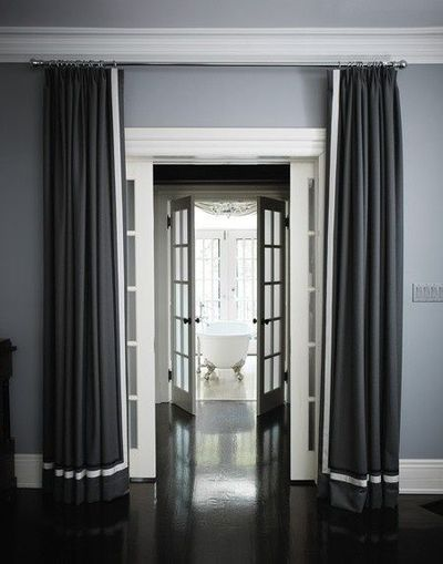 Gray Walls Dark Floor White Trim For The Home Juxtapost