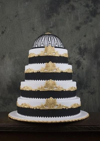 Art Deco Wedding Cake Black And Gold : Black, white and gold Art Deco wedding cake based on ...