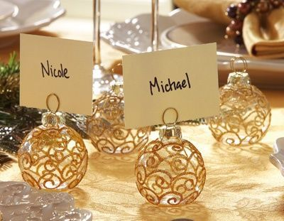 gold glitter scroll glass ornament holiday name tag holders christmas xmas ideas juxtapost