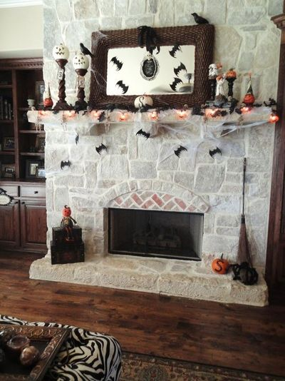 Halloween mantle with cute hanging bats