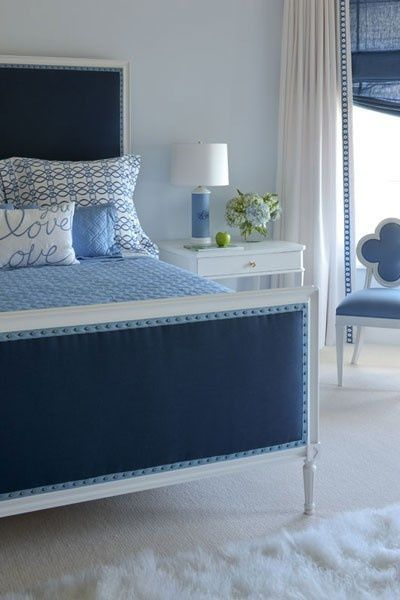 Navy Blue Headboard Pale Blue Walls White Curtains With