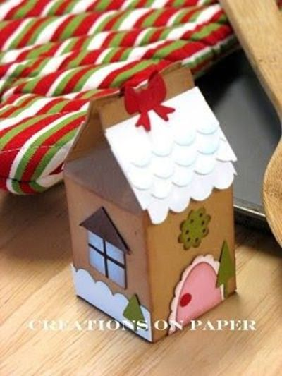 Creations on paper gingerbread house milk carton for Christmas crafts with milk cartons