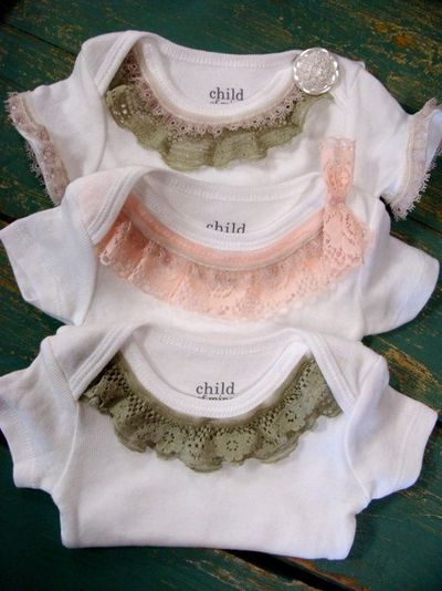 Lace Trim Onesie Pink Vintage Lace Trendy Baby Girl By