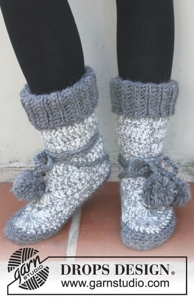 Free pattern: Crochet DROPS Boots in Eskimo ~ #DROPSDesign ...