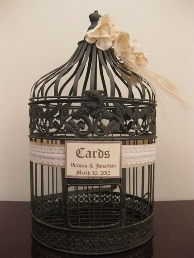 Vintage Style Bird Cage Wedding Card Holder With Lace And Peacock Feather Box