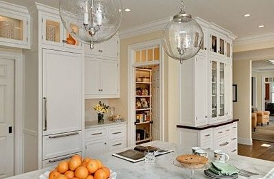 Bright Kitchen: Glass Globe Lights; Pantry Hidden Behind Full Height  Cabinet On The