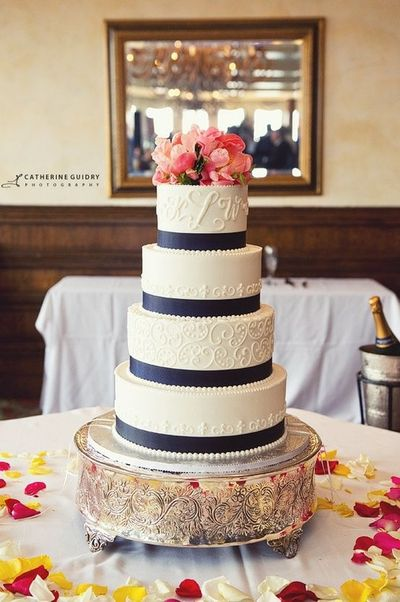 Wedding Cake With Coral Flowers And Navy Blue Ribbon Wedding