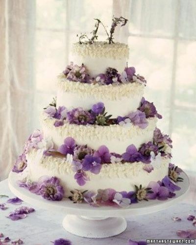Purple Flower Petal Wedding Cake