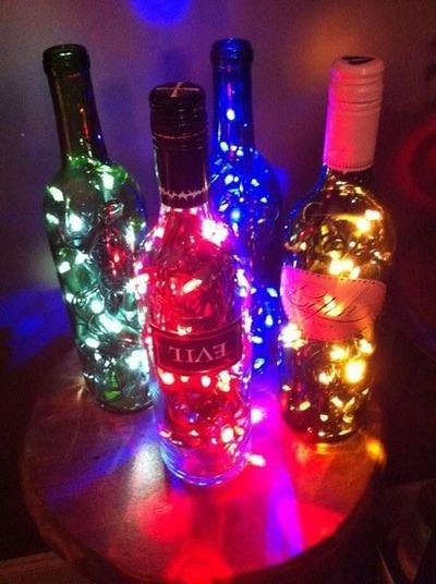 How to make wine bottles into decorative light vases for How to make wine bottle lights