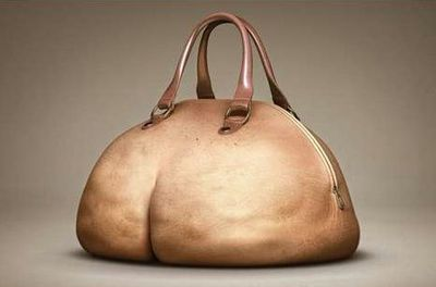 A plush-bottomed butt purse. The front looks like a big belly complete with navel. And the backside has dimpling!