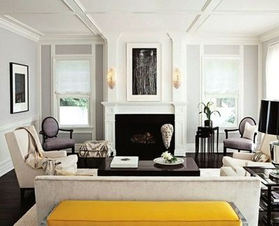 Chic, sophisticated living room lilac gray walls paint color ...