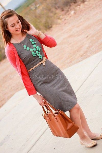 Grey sheath dress coral cardigan turquoise j crew for Jewelry to wear with coral dress