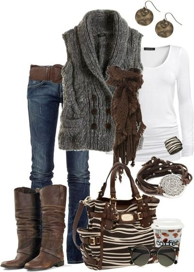 white sleeve grey sweater vest brown boots and