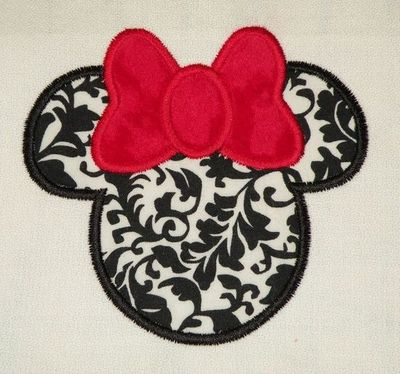 Mouse Ears With Bow Applique Embroidery Design