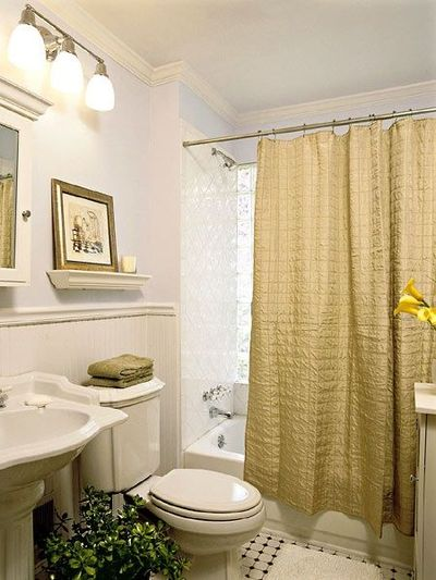 White Paint Metallic Gold Shower Curtain Shelf Over Toilet