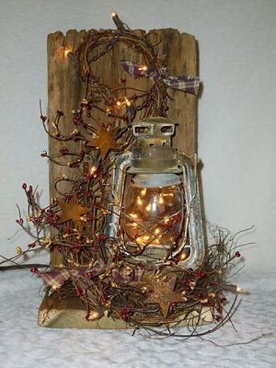 Add the lantern & Christmas lights to my sled for the porch.