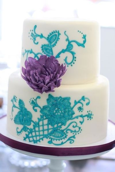 Turquoise And Purple Wedding Cake Wedding Cakes Juxtapost