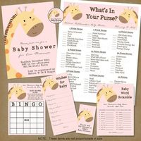 Printable Party Package for a Giraffe Baby Shower -- can be done in any background color.