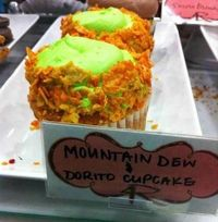 Mountain dew and doritos cupcakes