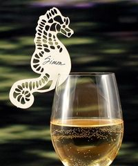 Design a custom decoration for glasses at an event. Laser Cut Seahorse Wine Glass Place Card $21.12