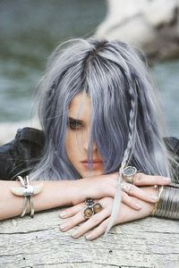 grunge silver blue hair and plaits