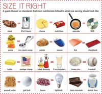 SIZE IT RIGHT - A guide to portion sizes next to normal, every day objects.