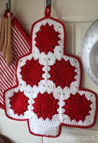 Crochet Christmas Tree Potholder, free pattern