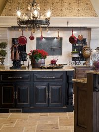 Look at that chunky island! and the huge rooster...awesome. Not to mention the pot filler and chalkboard behind the stove....love...