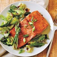 Salmon and Bok Choy Recipe - super fast and simple, try with sugar free maple syrup instead of honey