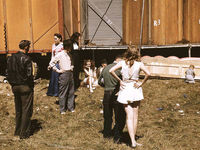 """Sept. 1941   """"Backstage"""" at the """"girlie"""" show at the Vermont state fair, Rutland."""