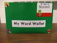 """My Word Wallet"", keeps flash cards of sight words. On the inside one side says ""Words I need to practice"" and the other side says ""Words I know"" from Welcome to First Grade Room 5"