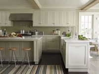 Two-tone cabinets, and love the back-splash!
