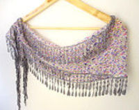 scarf,coton scarves,scarf,fashion,puple and gray-floral Scarf with gray Trim Edge,for her