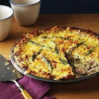 Asparagus & Chicken Pie with Grated Potato Crust Skip the extra calories and work of a traditional pie crust! Try our delicious, low fat crust made with grated potato mixed with onion, egg and a touch of salt. Tender, fresh asparagus helps make this a...