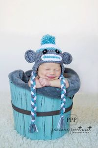Sock Monkey Hat Photography Prop Hat for NEWBORN BOYS or GIRLS.
