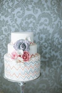 coral and orange chevron wedding cake