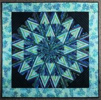 Batik Star, Beautiful Diamond Log Cabin Design, Wall Hanging Quilt in Teals and Blue etsy.com