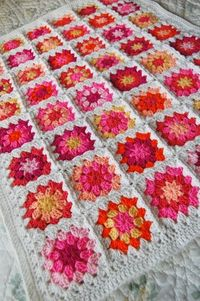 Bright Pink and Orange Patchwork Baby Granny Square Afghan
