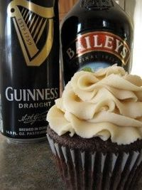 Irish Car Bomb Cupcakes! Delicious and a big hit with the friends. Use green food coloring in the frosting. It adds a nice touch.