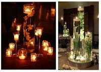 candles & flowers in water