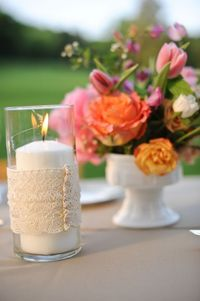 wrapped candles and bright flowers
